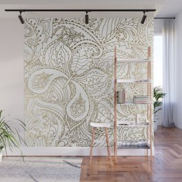 Elegant hand drawn white faux gold luxury floral Wall Mural