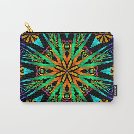 Colourful fantasy flower with tribal patterns Carry-All Pouch