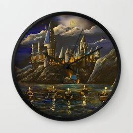 Hogwarts at Starry night Wall Clock