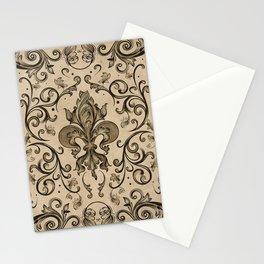 Vintage Fleur-de-lis ornament  Stationery Cards