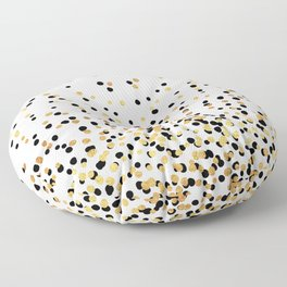 Floating Dots - Black and Gold on White Floor Pillow