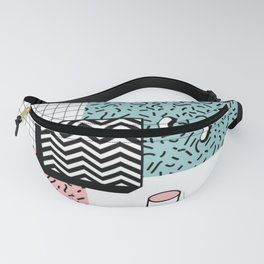 ABSTRACT PASTEL 80s POP ART RETRO PATTERN Fanny Pack