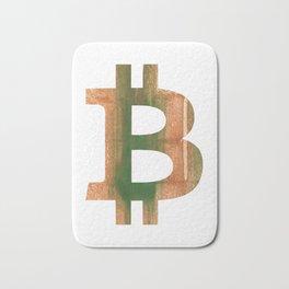 Bitcoin Peru green streaked wash drawing Bath Mat