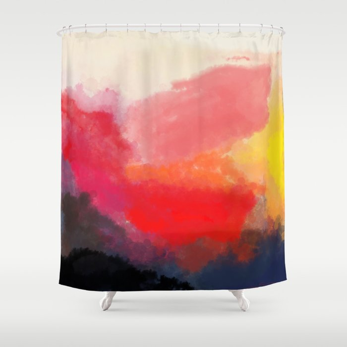 Red, Black and Yellow Mosaic Shower Curtain