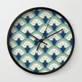 Fan Pattern Blue/Green Wall Clock