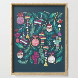 Mexican Christmas Tree // blue background green and aqua pine leaves multicoloured holiday decorations pan dulce balls cacti hearts birds pom-pom garland pinatas santa claus conchas donuts Serving Tray