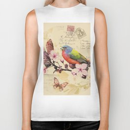 Vintage illustration with bird and butterfly Biker Tank