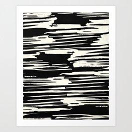 Modern Tribal Stripe Ivory and Black Art Print