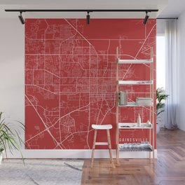 Gainesville Map, USA - Red Wall Mural