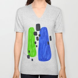 Lime Green Blue Mid Century Modern Abstract Minimalist Art Colorful Shapes Vintage Retro Style Unisex V-Neck