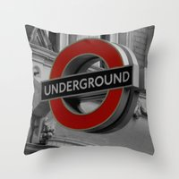 velvet underground Throw Pillows featuring Underground by itsthezoe