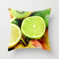 fruits Throw Pillows featuring Fruits by Vic Torys