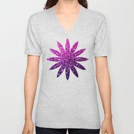 Purple Pink Ombre glitter sparkles Unisex V-Neck