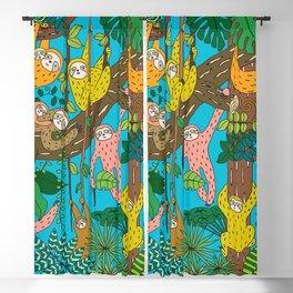 Happy Sloths Jungle Blackout Curtain