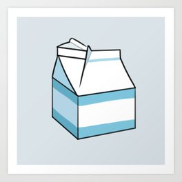 Milk Carton Light Blue Art Print
