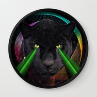 panther Wall Clocks featuring Panther by mark ashkenazi