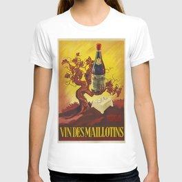 Vintage Vins Des Maillotins Wine Vineyard Poster T-shirt