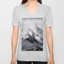 Panoramic View Of Everest Mountain Unisex V-Neck