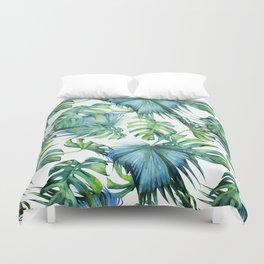 Blue Jungle Leaves, Monstera, Palm #society6 Duvet Cover