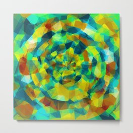 psychedelic geometric polygon pattern abstract in blue yellow green brown Metal Print