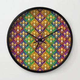 Harlequin Fleur di Lis Diamonds Wall Clock