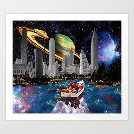 Enjoying the Night. *Futuristic / Sci-Fi Surreal Digital Collage.* Art Print