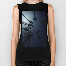 Palm Trees, Night Sky, Stars, Moon Biker Tank