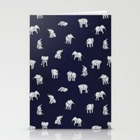 baby Stationery Cards featuring Indian Baby Elephants in Navy by Estelle F
