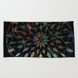 Boho Mandala Flower Splatter Beach Towel