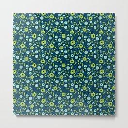 Apple green & Dark blue flowers Metal Print
