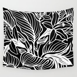 Black White Floral Minimalist Wall Tapestry
