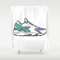 sneakers Shower Curtains featuring SNEAKERS COLLECTION by Vincent Battault