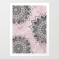 ROSE BOHO NIGHTS MANDALAS Art Print