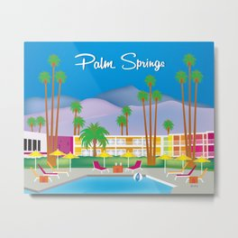 Palm Springs, California - Skyline Illustration by Loose Petals Metal Print