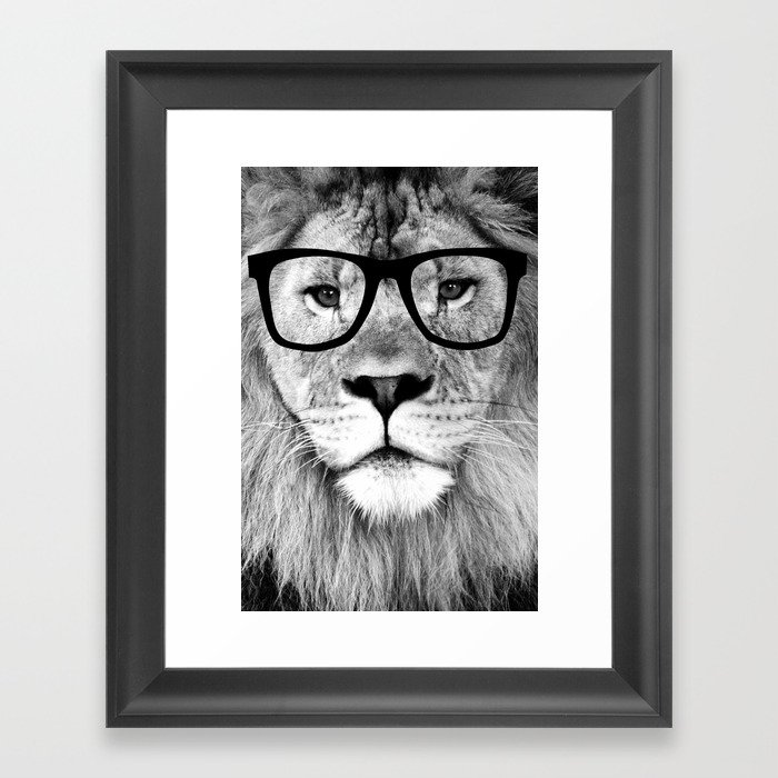 Hippest Lion With Gles Black And White Photograph Framed Art Print
