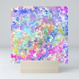 Elegant pink teal blue lavender watercolor bokeh Mini Art Print