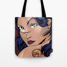 Tattoo Girl - Blue Tote Bag
