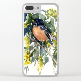 American Robin on Linden Tree, Deep blue Cottage Woodland style design Clear iPhone Case
