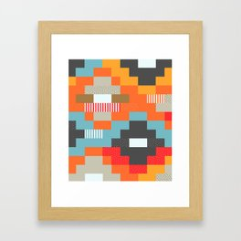 Colorful rectangles with dots Framed Art Print