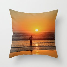 Scenic Sunset Sea Seascape Beach Shore Surf Surfer Throw Pillow