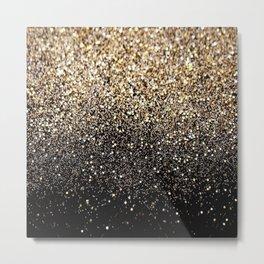 Black & Gold Sparkle Metal Print