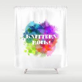 Knitters Rock! Shower Curtain
