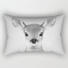 Baby Deer - Black & White Rectangular Pillow