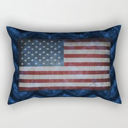 Cobalt Blue Digital Camo Chevrons with American Flag Rectangular Pillow