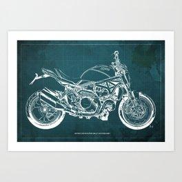 01 - 2019 Ducat Monster 1200 25° Anniversario green Art Print