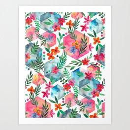 Whimsical Hexagon Garden on white Art Print