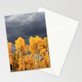 Golden Aspens and an Impending Storm Stationery Cards