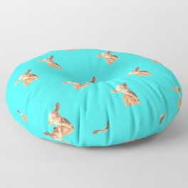 Baby Cow Turquoise Background Floor Pillow