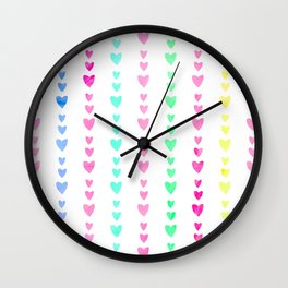 Cute Pastel Girly Rainbow Hearts pattern Wall Clock