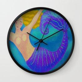 Swimming Blonde Mermaid Wall Clock